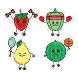 Dirigez les fruits plats de croquis, légumes faisant le sport Images stock