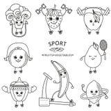 Dirigez les fruits plats de croquis, légumes faisant le sport Photos libres de droits