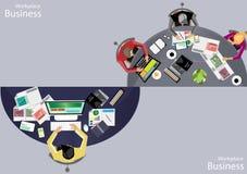 Dirigez les gens d'affaires de lieu de travail regardent l'utilisation des technologies des communications modernes, carnets, com illustration libre de droits