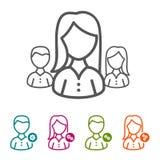 Dirigez les gens d'affaires d'icônes dans la ligne mince style et conception plate Images libres de droits