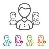 Dirigez les gens d'affaires d'icônes dans la ligne mince style et conception plate illustration libre de droits