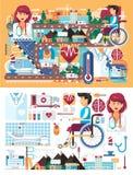 Dirigez les grands soins de santé de médecine d'illustration de scénographie de la maladie et du rétablissement patients de trait Image libre de droits