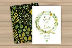 Dirigez les guirlandes florales circulaires colorées d'aquarelle avec des fleurs d'été et le copyspace blanc central pour votre t Photo stock