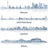 Dirigez les horizons de villes de Moscou, de St Petersbourg, d'Istanbul et d'Athènes dans la palette de couleurs bleue molle illustration libre de droits