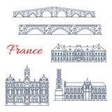 Dirigez les icônes d'architecture des Frances Lyon, Limoges illustration libre de droits