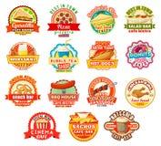 Dirigez les icônes de café de restaurant ou de prêt-à-manger d'aliments de préparation rapide Illustration de Vecteur