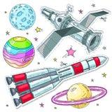 Dirigez les icônes de style comique d'illustration, le satellite d'autocollants, la fusée d'espace et les planètes colorés illustration stock