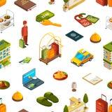 Dirigez les icônes isométriques modèle d'hôtel ou l'illustration de fond illustration stock