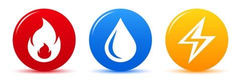 Dirigez les icônes le feu, l'eau, l'électricité de Web d'isolement sur le blanc illustration de vecteur