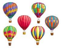 Dirigez les icônes du modèle chaud de croquis de ballons à air Image libre de droits
