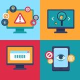 Dirigez les icônes plates - sécurité et virus d'Internet illustration stock