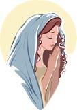 Dirigez les illustrations de prier Vierge Marie sur le blanc Photographie stock libre de droits