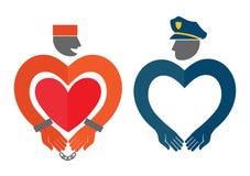 Dirigez les insignes d'un prisonnier et d'un policier Image libre de droits