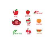 Dirigez les légumes et portez des fruits des icônes réglées, amour, faisant cuire des symboles, ensemble de label de nourriture Photos libres de droits