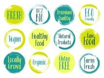 Dirigez les labels organiques, bio emblèmes pour le menu de restaurants, naturels illustration libre de droits