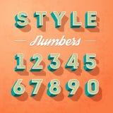 Dirigez les lettres d'alphabet et le rétro style de couleur de nombres, designe de lettres Photos libres de droits