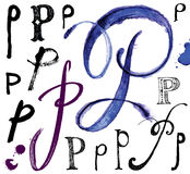 Dirigez les lettres de l'alphabet écrit avec une brosse Illustration Libre de Droits