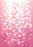 Dirigez les lumières Defocused dans la forme de coeur, couleur rose Photos stock