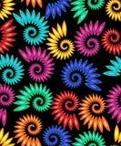 Dirigez les modèles multicolores d'escargot d'arc-en-ciel sur le fond noir Tuile sans couture contrastante haute de fond illustration stock