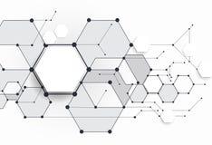 Dirigez les molécules abstraites avec le polygone du papier 3D sur le fond gris-clair Photo libre de droits