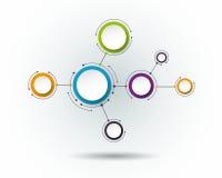 Dirigez les molécules abstraites, label du papier 3D, cercles intégrés Images stock