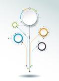 Dirigez les molécules abstraites, label du papier 3D, cercles intégrés Photographie stock