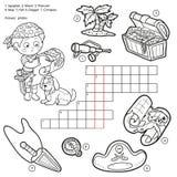 Dirigez les mots croisé sans couleur, jeu d'éducation au sujet des pirates illustration stock