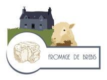 Dirigez les moutons de photo sur le fond d'une maison avec une pelouse et un fromage illustration stock