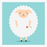 Dirigez les moutons plats heureux mignons d'animal domestique avec la fleur rouge en main Photo stock