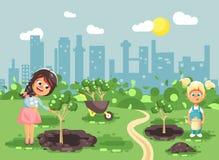 Dirigez les personnages de dessin animé d'illustration des enfants deux petits trous près creusés de filles en terre pour planter Photo stock