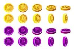 Dirigez les pièces de monnaie oranges et violettes de rotation d'animation de 3D Bitcoin Digital ou argent électronique de devise Photographie stock libre de droits
