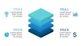 Dirigez les places 3D infographic, diagramme de diagramme de couches, présentation de graphique Concept d'affaires avec 4 options Photo stock