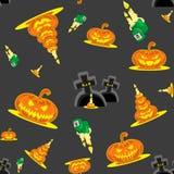 Dirigez les potirons, les bougies, les tombes et la croix sans couture de kit de Halloween de fond illustration stock