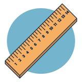 Dirigez les règles en bois en centimètre d'isolement sur le fond bleu illustration de vecteur