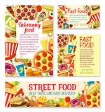 Dirigez les repas de nourriture de rue de prêt-à-manger ou les affiches de snaks Illustration Libre de Droits