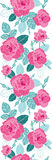 Dirigez les roses de vintage et les feuilles roses de bleu à la frontière sans couture verticale de modèle de répétition de fond  illustration de vecteur