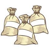Dirigez les sacs de farine, de sucre et de sel Photographie stock libre de droits