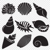 Dirigez les silhouettes noires de coquilles de mer d'isolement sur l'alpha fond transperant illustration libre de droits
