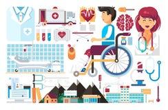 Dirigez les soins de santé de médecine d'élément de scénographie du docteur patient de rétablissement de maladie de traitement d' illustration libre de droits