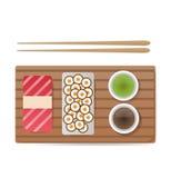 Dirigez les sushi et les petits pains réglés d'isolement sur le blanc Photos stock