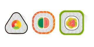 Dirigez les sushi et les petits pains réglés d'isolement sur le fond blanc Images libres de droits