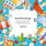 Dirigez les types de drogues fond avec la place blanche et les placez pour le texte Photos libres de droits