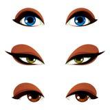 Dirigez les yeux femelles dans l'émotion différente avec le bleu, le brun et le gre illustration libre de droits
