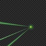 Dirigez lumineux, vert, des rayons laser sur le fond transparent d'isolement Élément de conception illustration stock