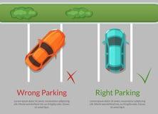 Dirigez mal et les voitures droites de stationnement sur l'illustration de vue supérieure de parking illustration libre de droits