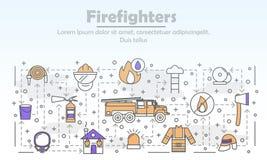 Dirigez mince calibre de bannière d'affiche de sapeurs-pompiers de schéma illustration libre de droits