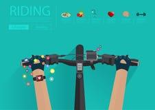 Dirigez monter un vélo avec porter une fréquence cardiaque de smartwatch illustration libre de droits