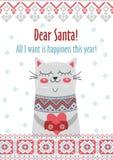 Dirigez Noël de carte de calibre le Joyeux dans le style traditionnel avec le cadeau mignon de chat Nouvelles années d'hiver de v Photos libres de droits