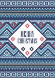 Dirigez Noël de carte de calibre le Joyeux dans le style traditionnel Nouvelles années de fond avec l'ornement de pixel Photos stock