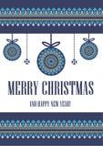 Dirigez Noël de carte de calibre le Joyeux dans le style traditionnel Nouvelles années de fond avec l'ornement de pixel de boules illustration de vecteur